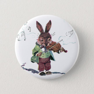 Bunny Playing the Violin 6 Cm Round Badge