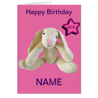 Bunny Rabbit Age Personalised Card daughter etc.