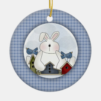 Bunny Rabbit and Birds Double-Sided Ceramic Round Christmas Ornament
