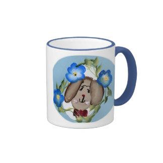 Bunny Rabbit and Blue Flowers Ringer Mug