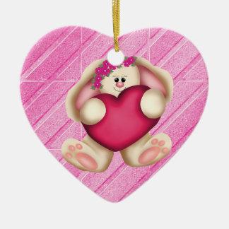 Bunny Rabbit and Heart Double-Sided Heart Ceramic Christmas Ornament