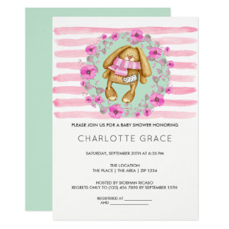 Bunny Rabbit And Pink Flowers Baby Shower Card
