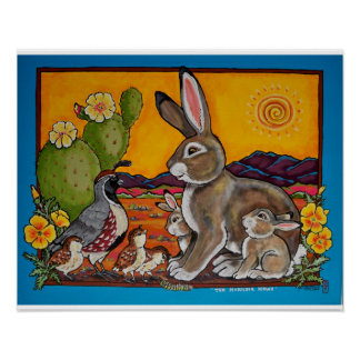 Bunny Rabbit and Quail Families Southwest Poster