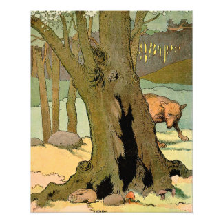 Bunny Rabbit and Wolf in the Forest Photo Print
