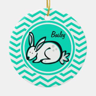 Bunny Rabbit Aqua Green Chevron Christmas Ornaments
