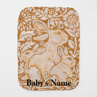 Bunny Rabbit Baby Burp Cloth Gold Gift Personalize