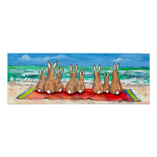 Bunny Rabbit Beach Blanket Ocean Blue Poster