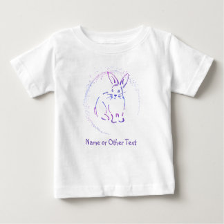 Bunny Rabbit Blue/Purple Sketch with Your Own Text Baby T-Shirt