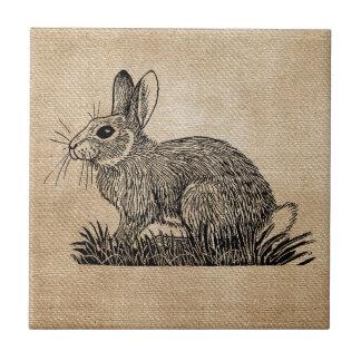 Bunny Rabbit Burlap Tile
