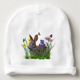Bunny Rabbit,  Butterflies, and Flowers Baby Beanie
