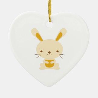 Bunny Rabbit Ceramic Heart Decoration