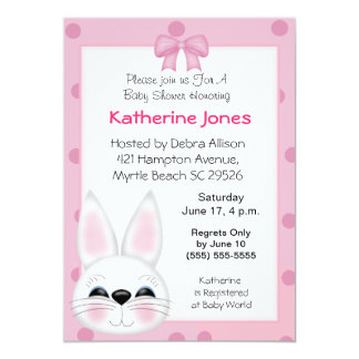 Bunny Rabbit  Face Baby Shower 5x7 Paper Invitation Card
