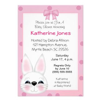 Bunny Rabbit Face Baby Shower Invite