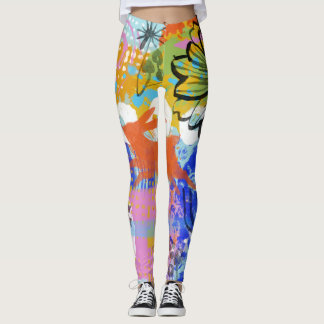 Bunny Rabbit Flower Shabby Chic Painting Abstract Leggings