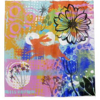 Bunny Rabbit Flower Shabby Chic Painting Abstract Shower Curtain