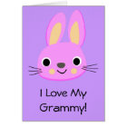 Bunny Rabbit I Love My Grammy Custom Name Birthday Card