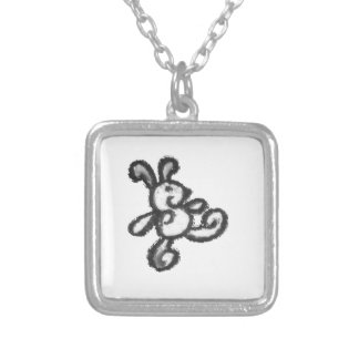 bunny, rabbit , love , baby, go , walk, bold silver plated necklace