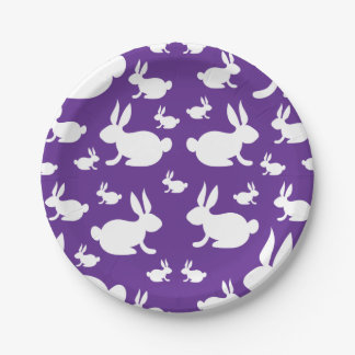 Bunny Rabbit Paper Plate Purple and White