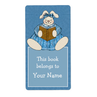 Bunny Rabbit Reading in Blue Dress Bookplate Shipping Label