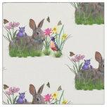 Bunny Rabbit,  Robin, and Flowers, Customisable Fabric