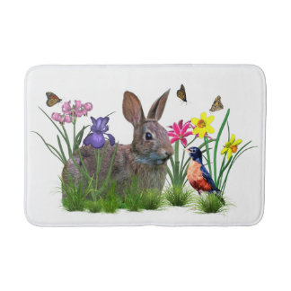 Bunny Rabbit,  Robin, and Flowers, Customizable Bath Mats