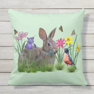 Bunny Rabbit,  Robin, and Flowers. Customizable Outdoor Cushion