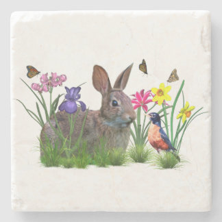 Bunny Rabbit,  Robin, and Flowers, Customizable Stone Coaster