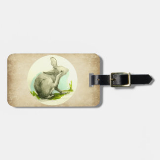 Bunny Rabbit Tan Faux Leather Luggage Tag