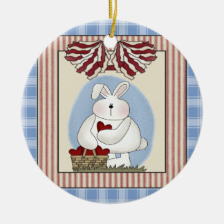 Bunny Rabbit With Heart Double-Sided Ceramic Round Christmas Ornament