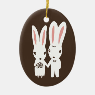 Bunny Rabbits Bride and Groom Wedding Keepsake Ceramic Oval Decoration