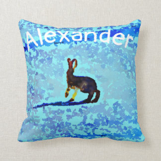 Bunny Rabbits on  blue front  pastel back , name Cushion