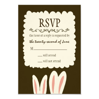 Bunny Rabbits Wedding RSVP 9 Cm X 13 Cm Invitation Card