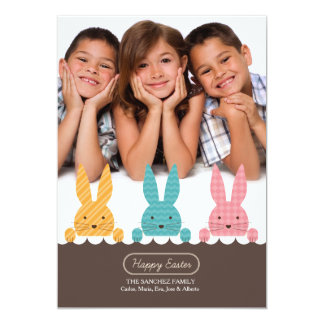 Bunny Siblings Photo Easter Card 13 Cm X 18 Cm Invitation Card