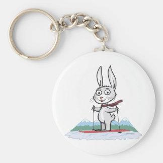 Bunny Skiing Key Ring