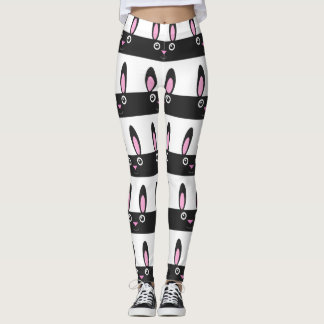 Bunny Smile Stripe Pattern Leggings