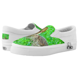 Bunny Sneakers Bunny in green grass slip on sneaks