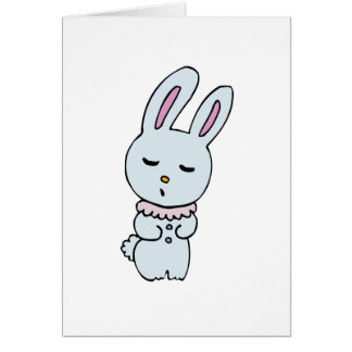 Bunny Soft Blue Colored Greeting Card