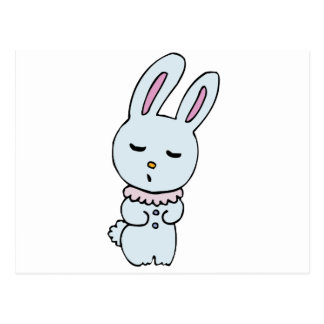 Bunny Soft Blue Colored Postcard