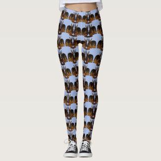 Bunny Stripes on Blue Leggings