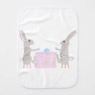 Bunny Tea Party Baby Burp Cloths