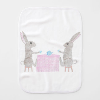 Bunny Tea Party Burp Cloth