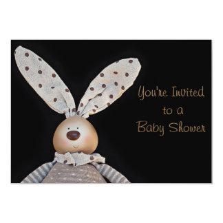 Bunny unisex baby shower invitations on black