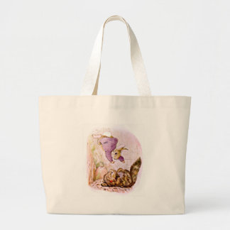 Bunny versus Cat Artwork Large Tote Bag