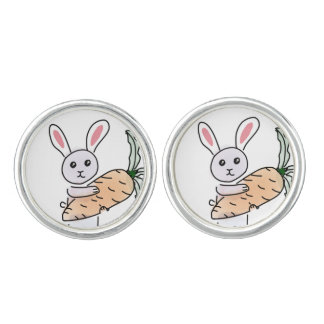Bunny with a Carrot Cuff Links