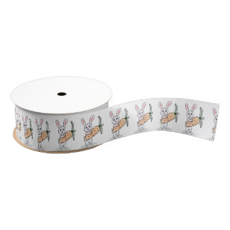 Bunny with a Carrot Grosgrain Ribbon