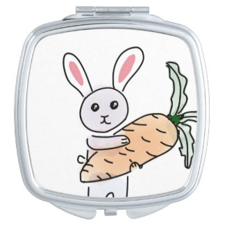 Bunny with a Carrot Makeup Mirror