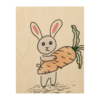 Bunny with a Carrot Wood Wall Art