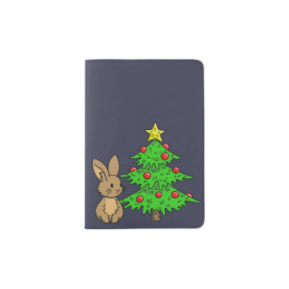 Bunny with a Christmas Tree Passport Holder