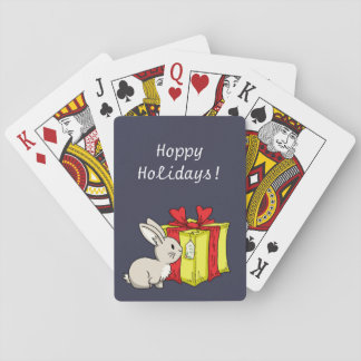 Bunny with a Holiday Gift Playing Cards