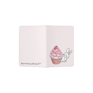 Bunny with a pink cupcake passport holder